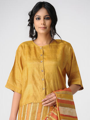 Yellow Tussar Silk Blouse