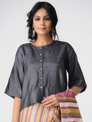 Black Tussar Silk Blouse