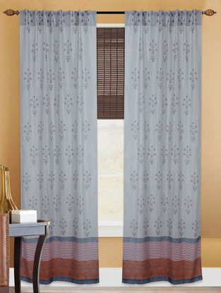 Brown Grey Hand Block Printed Cotton Chanderi Curtain