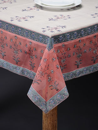 Brown-Grey Hand-block Printed Cotton Chanderi Table Cover (106in x 59in)