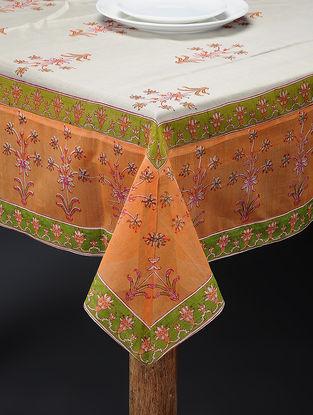 Orange-Green Hand-block Printed Cotton Chanderi Table Cover