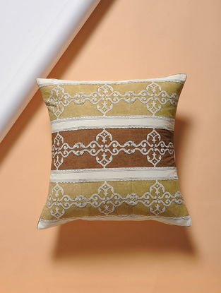Brown-Beige Hand-block Printed Cotton Cushion Cover (16in x 16in)