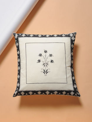 White-Black Hand-block Printed Cotton Cushion Cover (16in x 16in)