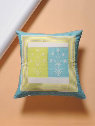 Green-Blue Hand-block Printed Cotton Cushion Cover (16in x 16in)