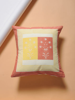 Orange-Yellow Hand-block Printed Cotton Cushion Cover (16in x 16in)