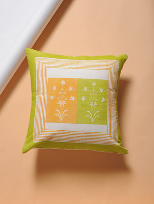 Green-Yellow Hand-block Printed Cotton Cushion Cover (16in x 16in)