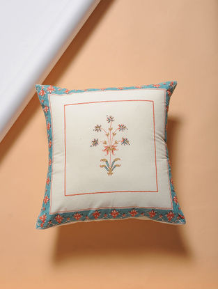 Turquoise-Orange Hand-block Printed Cotton Cushion Cover (16in x 16in)
