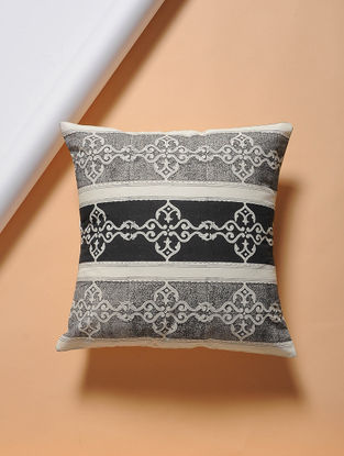 Black-White Hand-block Printed Cotton Cushion Cover (16in x 16in)