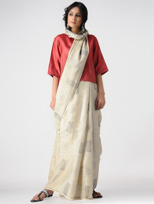 Ivory-Grey Block-printed Tussar Silk Saree