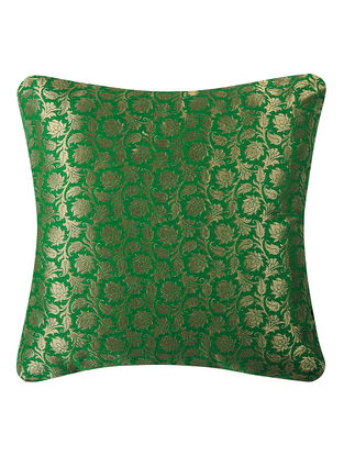 Green Brocade Silk Cushion Cover with Lotus Buta (16in x 16in)