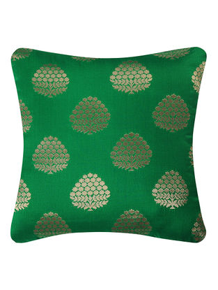 Green Brocade Silk Cushion Cover with Tree Buta (16in x 16in)