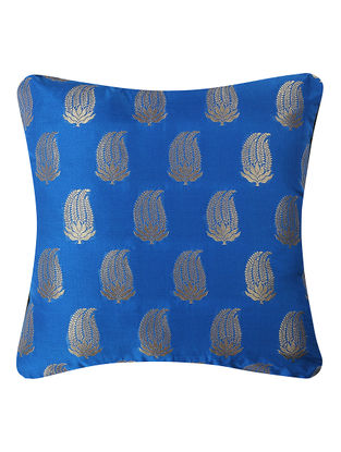 Blue Brocade Silk Cushion Cover with Paisley Buta (16in x 16in)