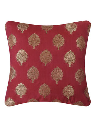 Red Brocade Silk Cushion Cover with Tree Buta (16in x 16in)