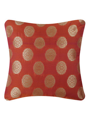 Red Brocade Silk Cushion Cover (16in x 16in)