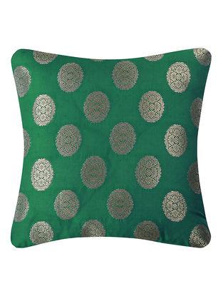 Green Brocade Silk Cushion Cover (16in x 16in)