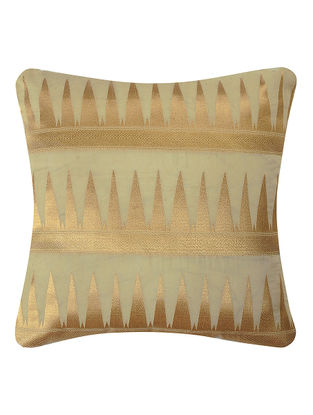 Beige-Golden Brocade Silk Cushion Cover with Temple Border (16in x 16in)