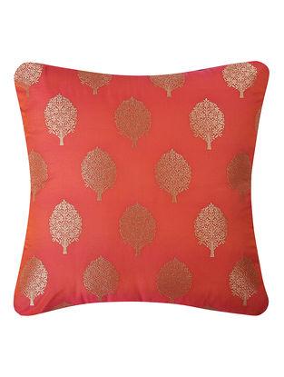 Orange Brocade Silk Cushion Cover with Tree Buta (16in x 16in)