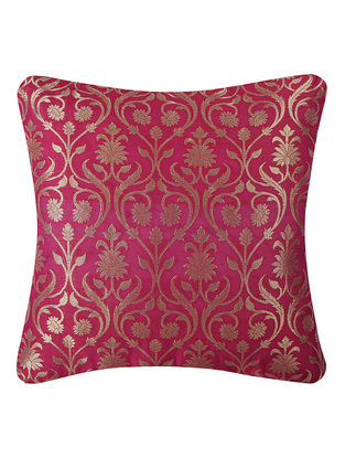 Pink Brocade Silk Cushion Cover with Lotus Jaal (16in x 16in)