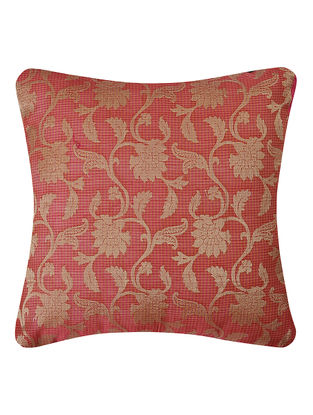 Pink Brocade Silk Cushion Cover with Floral Jaal (16in x 16in)
