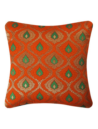 Orange Brocade Silk Cushion Cover with Satin Jaal (16in x 16in)