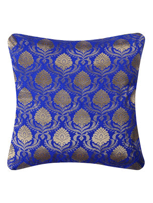Blue Brocade Silk Cushion Cover with Lotus Jaal (16in x 16in)