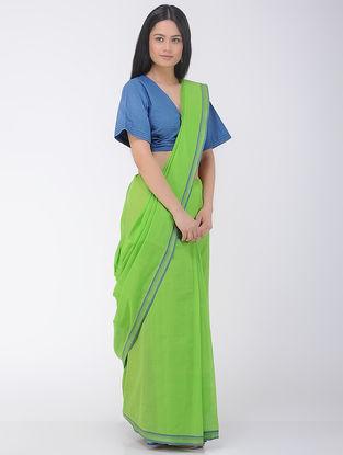 Green-Blue Cotton Saree with Woven Border