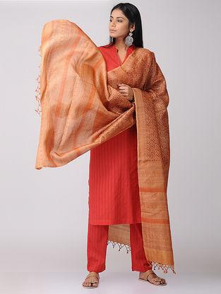 Orange Block-printed Tussar Silk Dupatta