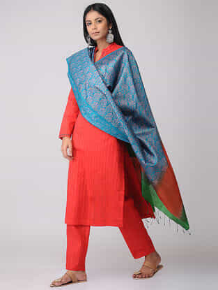 Blue-Red Block-printed Tussar Silk Dupatta