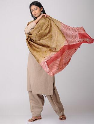 Brown-Red Block-printed Tussar Silk Dupatta