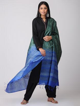 Green-Blue Block-printed Tussar Silk Dupatta