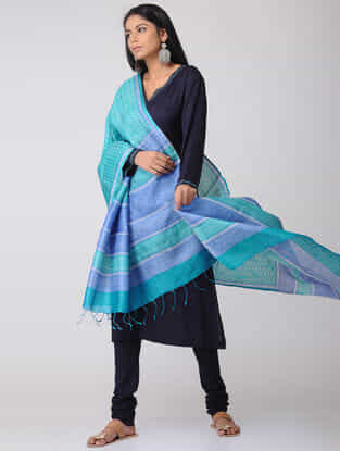 Sea Green-Blue Block-printed Tussar Silk Dupatta