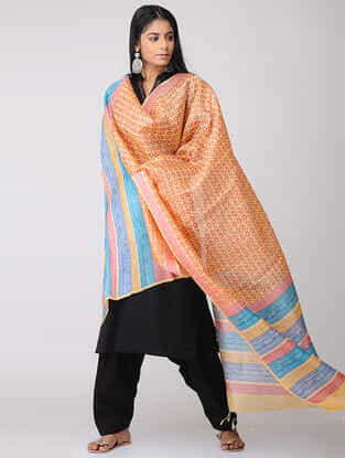 Yellow-Red Block-printed Tussar Silk Dupatta