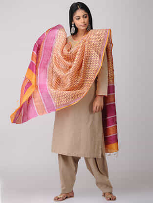Orange-Pink Block-printed Tussar Silk Dupatta