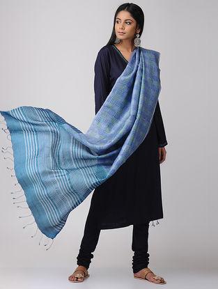 Blue-Green Block-printed Tussar Silk Dupatta