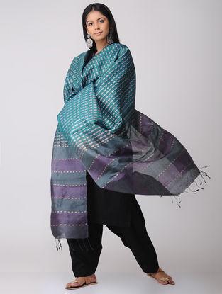 Teal-Grey Block-printed Tussar Silk Dupatta