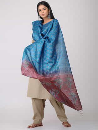 Blue-Maroon Block-printed Tussar Silk Dupatta