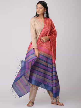 Red-Blue Block-printed Tussar Silk Dupatta