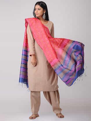 Pink-Blue Block-printed Tussar Silk Dupatta