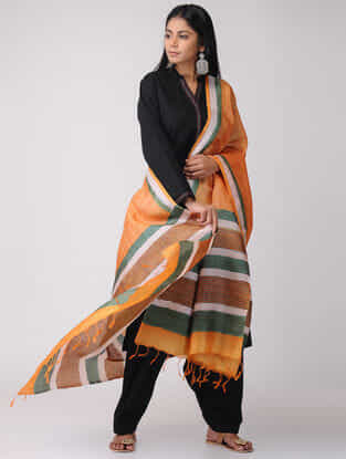 Orange-Green Block-printed Tussar Silk Dupatta