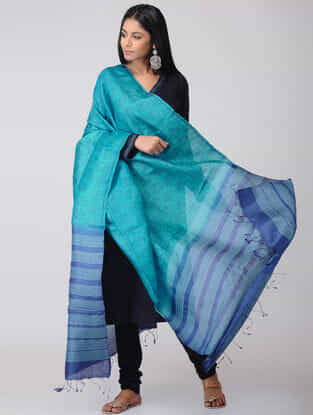 Blue Block-printed Tussar Silk Dupatta