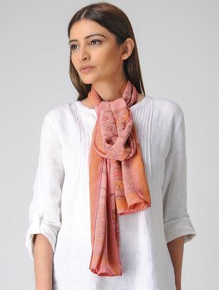 Pink-Orange Block-printed Crepe Silk Stole