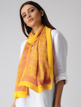 Yellow-Pink Block-printed Satin Silk Stole
