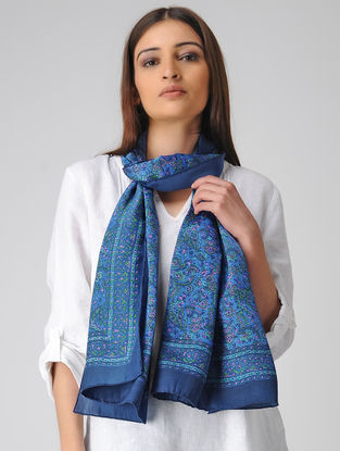 Blue-Pink Block-printed Satin Silk Stole