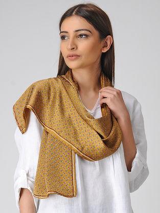 Ochre-Maroon Block-printed Satin Silk Stole