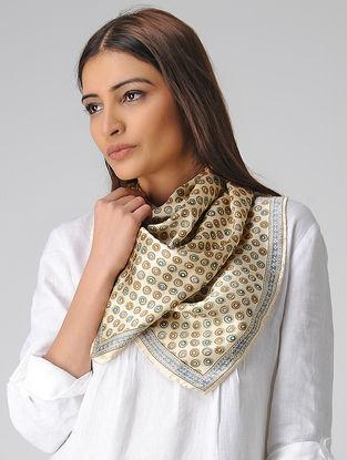Cream-Brown Block-printed Satin Silk Stole