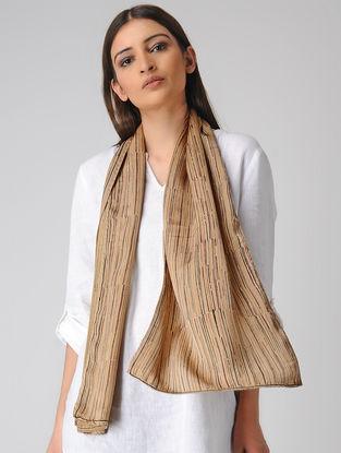 Beige-Grey Block-printed Satin Silk Stole