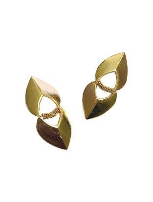 Leaf Duet Gold-Plated Brass Earrings