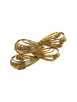 Double Bow Gold-Plated Brass Adjustable Ring