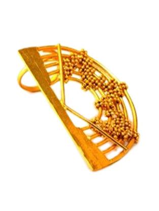 Half Orb Gold-Plated Brass Adjustable Ring