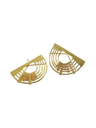 Half Orb Gold-Plated Brass Earrings